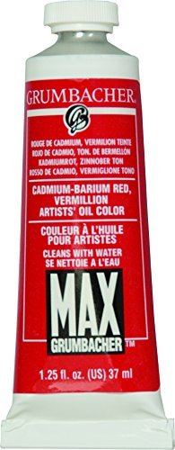 Grumbacher Max Water Miscible Oil Paint, 37ml/1.25 oz, Cadmium-Barium Vermillion by Grumbacher