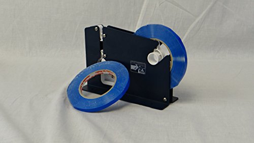 96 Rolls Poly Bag Sealer Tape Blue Color Sealing Tapes 3/8 Inch x 180 yards with Free Dispenser by PackagingSuppliesByMail