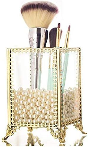 PENGKE Gold Brush Organizer with White Pearls and Clear Crystal Makeup Brush Holder Cup,Pack of 1
