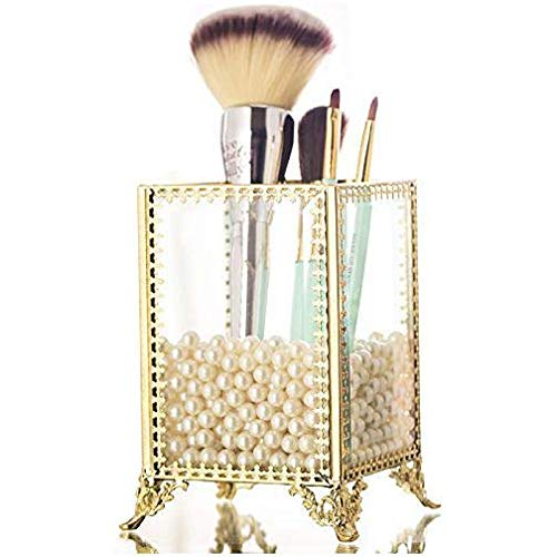(PENGKE Gold Brush Organizer with White Pearls and Clear Crystal Makeup Brush Holder Cup,Pack of 1)