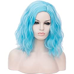 "14"" Women Short Wavy Curly Wig baby blue Bob Wig Cosplay Halloween Synthetic Wigs 22 Colors Available"