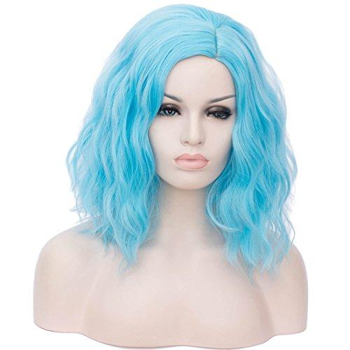 (Cying Lin Short Bob Wavy Curly Wig Sky Blue Wig For Women Cosplay Halloween Wigs Heat Resistant Bob Party Wig (Sky)
