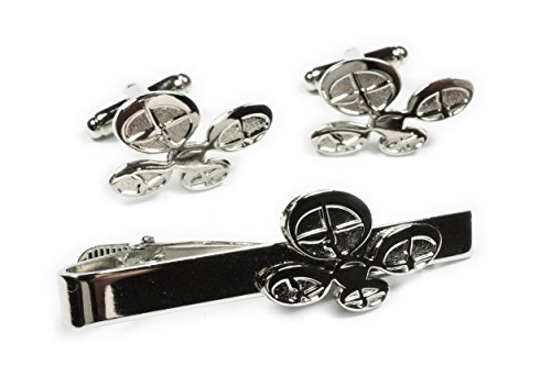 Drone RC Remote Control Airplane Helicopter TIE BAR CLIP CUFFLINKS SET ()
