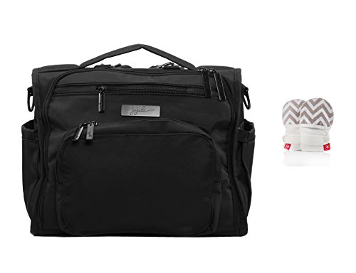 Ju-Ju-Be B.F.F. Convertible Diaper Bag, Black Out + GoumiKids Mitts Chevron (Stone) S/M