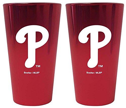Philadelphia Phillies Lusterware Pint Glass - Set of (Phillies Pilsner Glass)