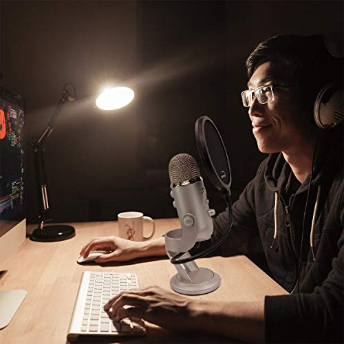 Pop Filter For Blue Yeti Microphone - 6-inch - Eliminates The Thudding From B and P Sounds Hitting The Microphone