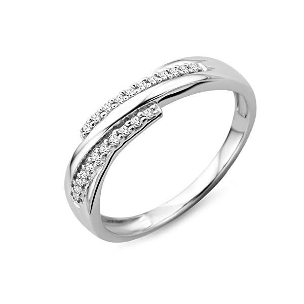Miore – Anillo de oro blanco de 9 quilates con diamante (.098) Miore – Anillo de oro blanco de 9 quilates con diamante (.098) Miore – Anillo de oro blanco de 9 quilates con diamante (.098)