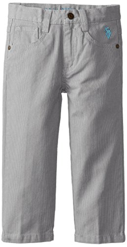 U.S. Polo Assn. Little Boys' Bedford Cord 5 Pocket Pants, Medium Grey, 5