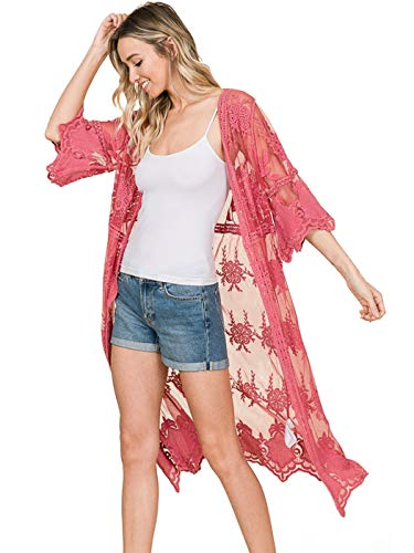 Anna-Kaci Womens Long Embroidered Lace Kimono Cardigan with Half Sleeves, Rose, Medium/Large