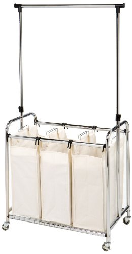 Seville Classics Mobile 3-Bag Heavy-Duty Laundry Hamper Sorter Cart/w Clothes Rack