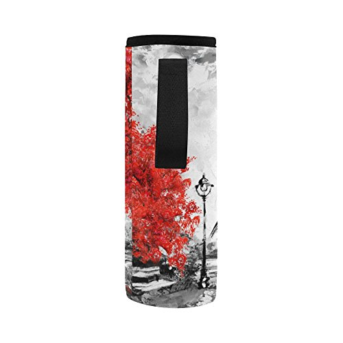 InterestPrint Eiffel Tower Lover Neoprene Water Bottle Sleeve Insulated Holder Bag 16.90oz-21.12oz, Paris Oil Painting Sport Outdoor Protable Cooler Carrier Case Pouch Cover with Handle by InterestPrint (Image #3)