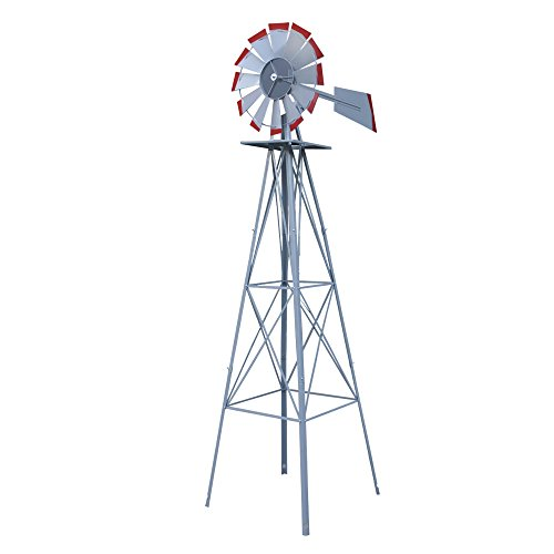 HomGarden 8' Windmill Yard Ornametal Steel Garden Wind Mill Weather Vane Weather Resistant Decoration for Home, Backyard (Sliver)