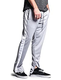 G-Style USA Men's Side Stripe Ankle Zip Regular Fit Stretch Drawstring Trackpants