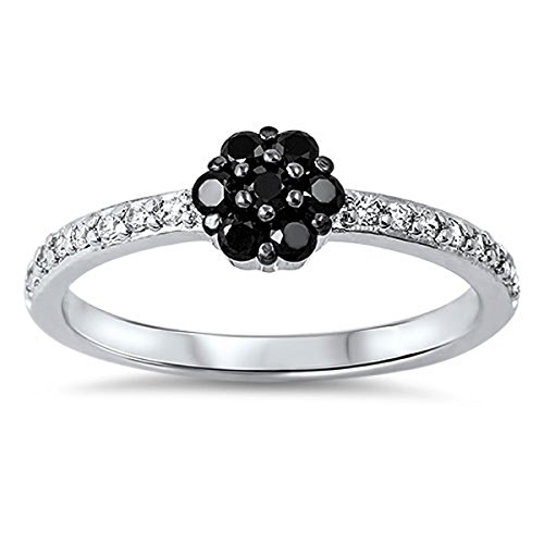 Prime Jewelry Collection Sterling Silver Women's Black Cubic Zirconia Flower Cluster Ring (Sizes 4-10) (Ring Size 9)