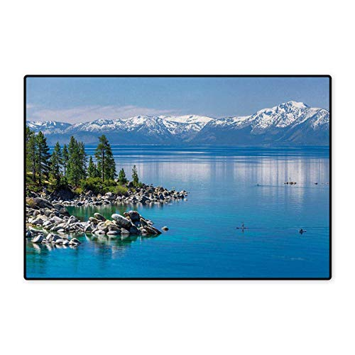 lue Waters of Lake Tahoe Snowy Mountains Pine Trees Rocks Relax Shore,Door Mat Small Rug,Light Blue Green Grey 16
