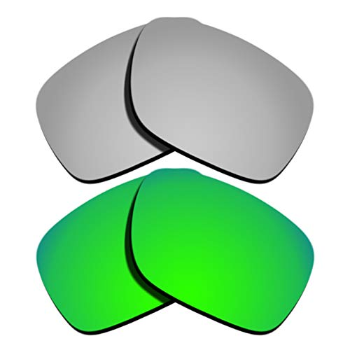 Polarized Replacement Lenses for Oakley Holbrook - Silver&Green Mirrored - Lenses Polarized Green Precision