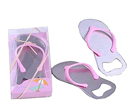 f3adb9c1239a2 Image Unavailable. Image not available for. Color  50pcs Wedding Birthday  Party Gift Pink flip-flops design Bottle Openers with gift box for