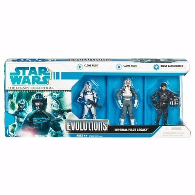 Hasbro Star Wars The Legacy Collection Evolutions 3 Pack 4 Inch Tall Action Figure - IMPERIAL PILOT LEGACY with Clone Pilot from
