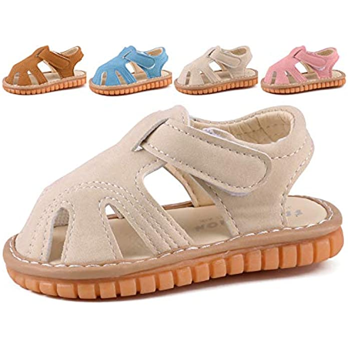 Boys Girls Summer Squeaky Sandals Closed-Toe Anti-Slip Premium Rubber Sole Toddler First Walkers Shoes
