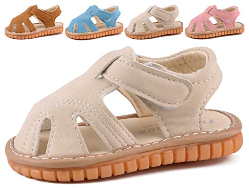 (CINDEAR Squeaky Pu Leather Closed-Toe Sandals for Infant Boy Girl Rubber Sole Anti-Slip Slippers Shoes Beige 1301-BG15(Inner Length 11.5cm/4.5in))