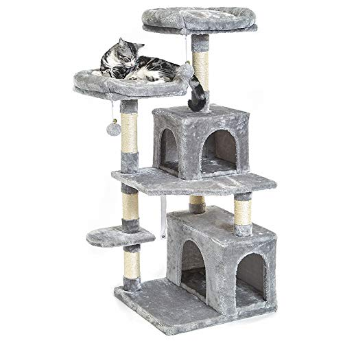 SUPERJARE 48 Inches Cat Tree Tower, Multi-Level Kitten Play House with Cozy Perches, Plush Condos and Sisal Scratching…
