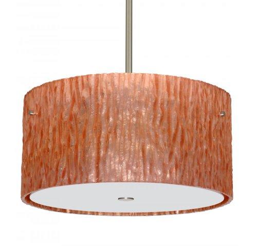Besa Lighting 1KT-4008CS-LED-SN 3X6W Gu24 LED Tamburo 16V2 LED Pendant with Stone Copper Foil Glass, Satin Nickel Finish