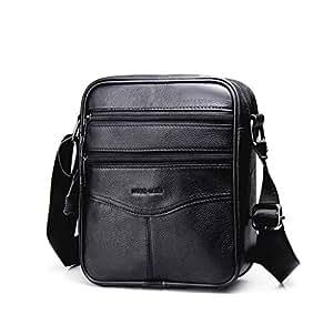 Men's Shoulder Bag, Popoti Handbag Crossbody Bag Leather Shopping School Backpack Messenger Carrying Bags Tote Wallet Small Pocktes 21cm (Black)