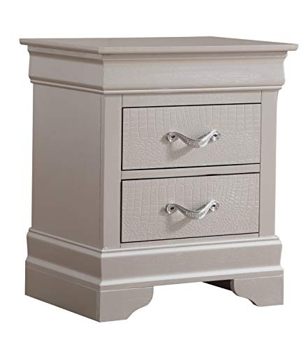 Glory Furniture 2 Drawer Nightstand, Silver Champagne (Furniture Champagne)