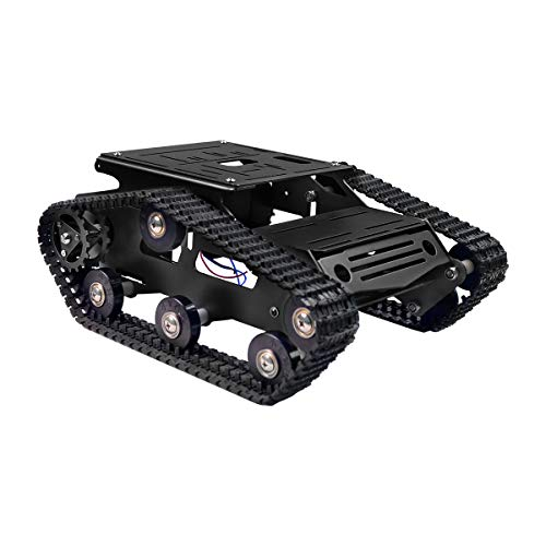 (XiaoR Geek Smart Robot Car Chassis Kit Aluminum Alloy Big Tank Chassis with 2WD Motors for Arduino/Raspberry Pi DIY Remote Control Robot Car Toys - Free Tools (Black))