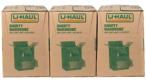 U-Haul Shorty Wardrobe Boxes - Moving Boxes for Hanging Clothing - Pack of 3-24
