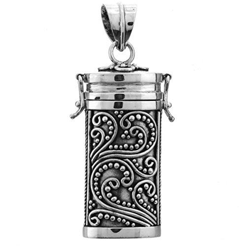 Large Pillbox Locket Prayer Box 925 Sterling Silver Pendant, 1 -