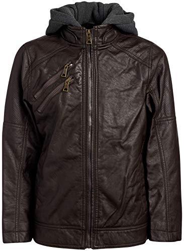 Urban Republic Boys Faux Leather Moto Jacket with Zipper Pockets and Fleece Hood, (Dark Brown Moto, 10/12)