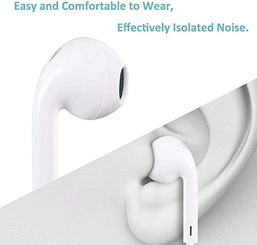 Replacement for iPhone Headphones Wired Stereo Sound Earbuds Earphones with Microphone and Volume Control,Isolation Noise Compatible with 14/13/12/11 All iOS Systems
