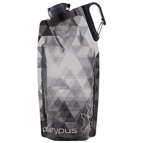 Cascade Ski Pro - Platypus DuoLock SoftBottle Collapsible Water Bottle, Gray Prisms, 1.0-Liter