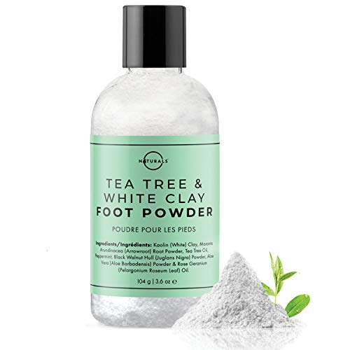 O Naturals Tea Tree Oil Kaolin Clay Foot Powder. Natural Deodorant for Men & Women Anti-Fungal Athlete Foot Care Toenail Treatment Peppermint Oil Aloe Vera Travel Size Body Nails Powder No Talc. 3.5oz