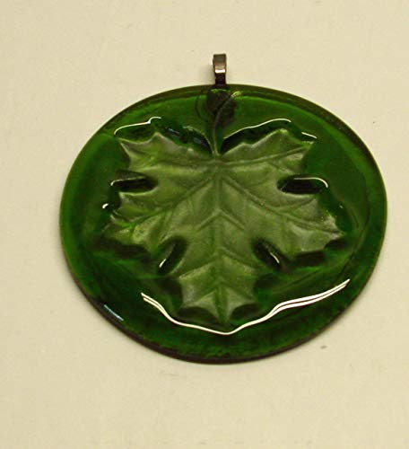 Moss Green Maple Leaf Handmade Up-Cycled Recycled Glass Wine Bottle Bottom Sun Catcher