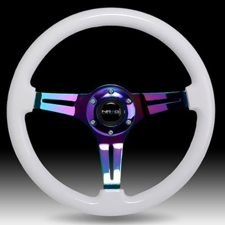 NRG Innovations ST-015MC-WT Classic Wood Grain Wheel (350mm 3 Neochrome spokes - White Paint Grip)