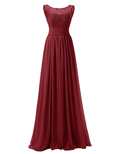 DRESSTELLS Long Prom Dress Scoop Bridesmaid Dress Lace Chiffon Evening Gown Burgundy Size 8