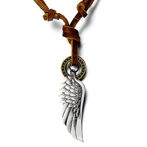 COOLSTEELANDBEYOND Retro Style Angel Wing Pendant Unisex Necklace for Men for Women with Adjustable Leather Cord gn3rSlN