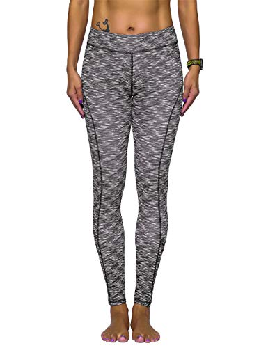 (Rocorose Women's Yoga Pants Tummy Control Power Flex Printed Ankle Length Tights Gray S)