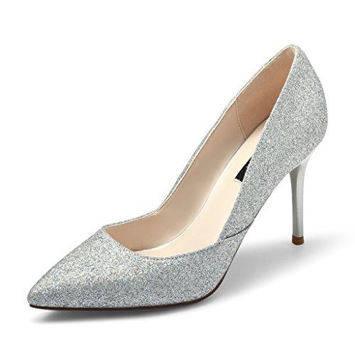 Femmes Chaussures de Banquet Talons Aiguilles Stiletto Chaussures de Mariage Chaussures de Demoiselle D'honneur Silver