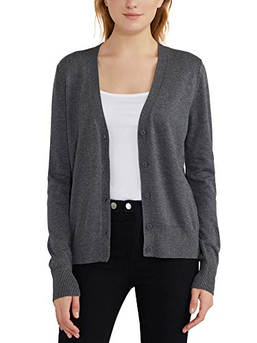 Woolicity Women's Open Front V Neck Cardigan Sweater Long Sleeve Button Down Classic Fit Lightweight Basic Knit Cardigans