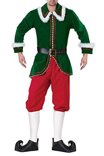 Deluxe Santas Helper - Kimring Men's Deluxe Santa's Helper Velvet Christmas Elf Costume Green Large