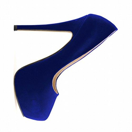 ladies high heels - SODIAL(R)women shoes ladies girls concealed platform stiletto high heels wedding party Blue 40 tAlhR