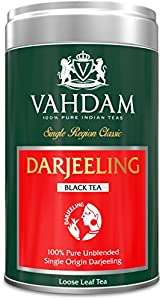 Vahdam, Darjeeling Tea, Tin Caddy, 100% Pure, Unblended, Single Origin Loose Leaf Black Tea, Grown, Packaged & Shipped Direct from Source in India - Perfect Tea Gift Set - 3.53oz (Pack of 1)