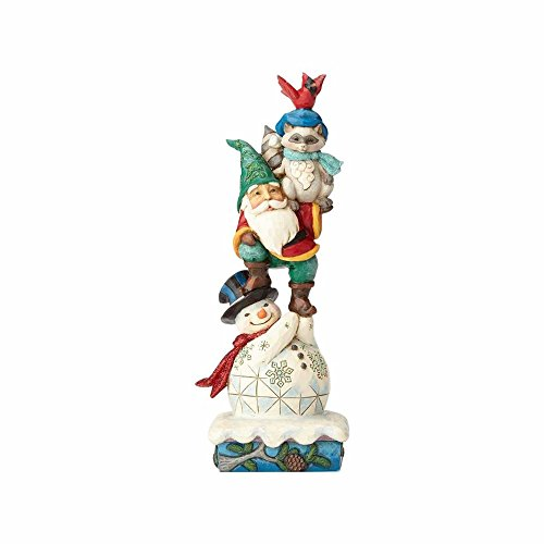 Enesco Jim Shore Heartwood Creek Winter Wonderland Woodland Animals and Snowman Stack Stone Resin Figurine, 10
