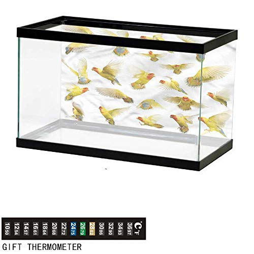 bybyhome Fish Tank Backdrop Birds,Peach Face Love Birds,Aquarium Background,36