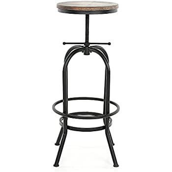 IKAYAA Swivel Bar Stools Adjustable Height Pinewood Kitchen Dining Chair