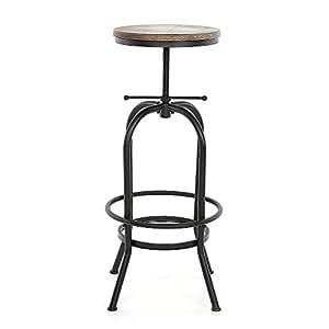 IKAYAA Swivel Bar Stools Adjustable Height Pinewood Kitchen Dining Chair