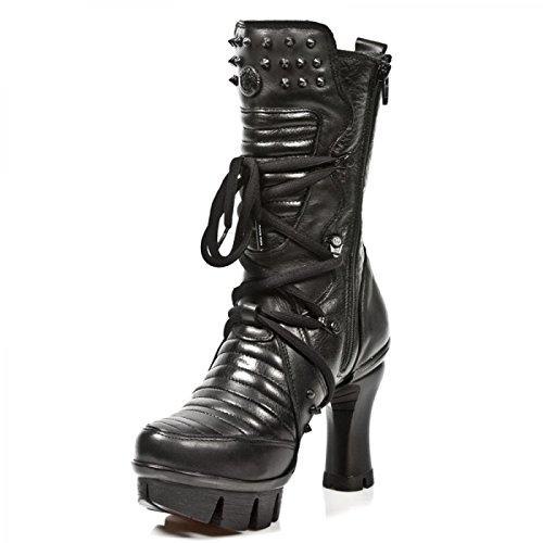 New Rock Boots M.neopunk004-c2 Gotico Hardrock Punk Damen Schnã¼rstiefel Schwarz